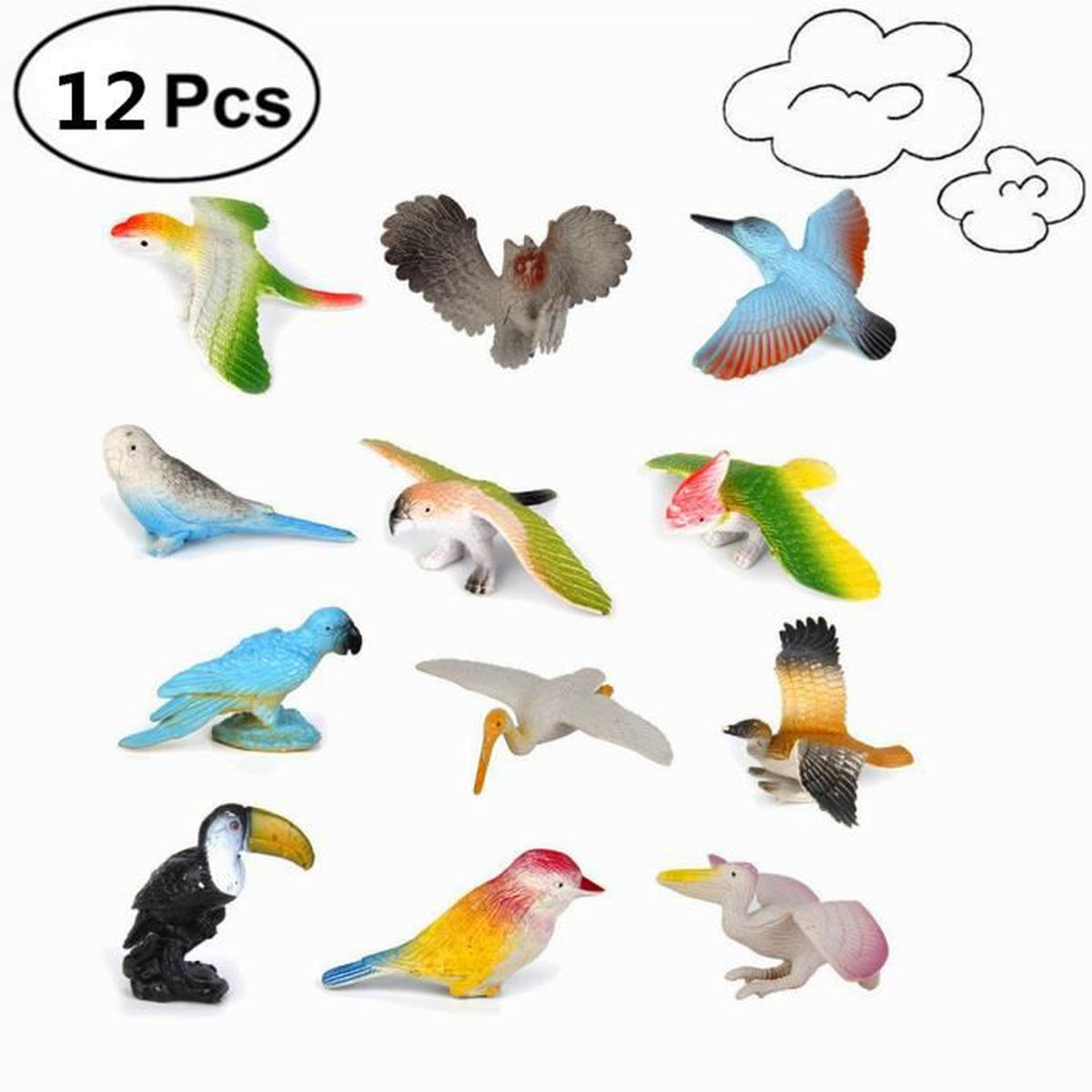 Animaux En Plastique Jouet 12pcs en plastique modèle oiseaux chiffres enfants jouet