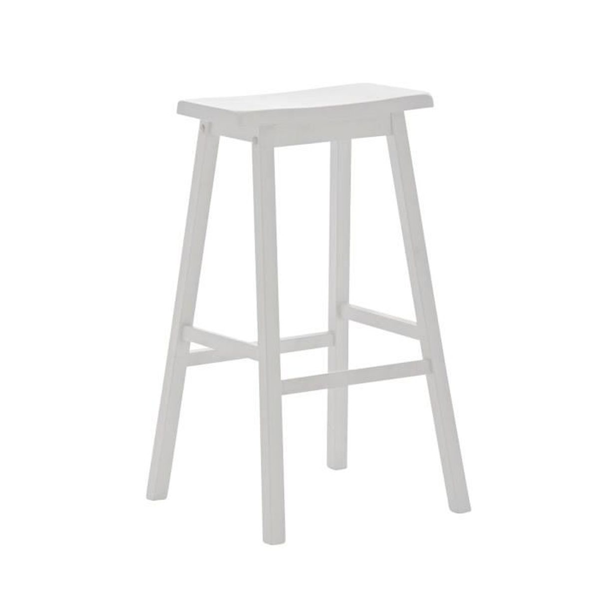 tabouret de bar en bois coloris blanc 79 x 55 x 46 cm achat vente tabouret de bar soldes. Black Bedroom Furniture Sets. Home Design Ideas