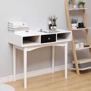 ARMOIRE DE BUREAU Bureau droit Scandinave décor blanc et Noir - L 90