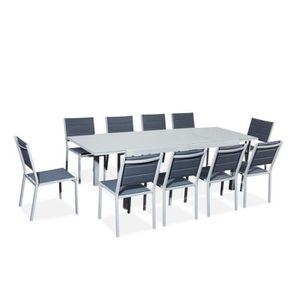SALON DE JARDIN  Table de jardin extensible aluminium/verre 180/240