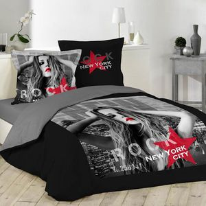 housse de couette noir et rouge achat vente housse de. Black Bedroom Furniture Sets. Home Design Ideas