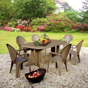 Salon de jardin résine grosfillex 6 couverts ta… - Achat ...