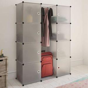 ARMOIRE DE CHAMBRE Armoire modulaire 9 compartiments Blanc 37 x 115 x