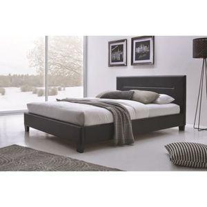 STRUCTURE DE LIT Lit MITCH 140x200 cm en simili cuir, coloris noir,