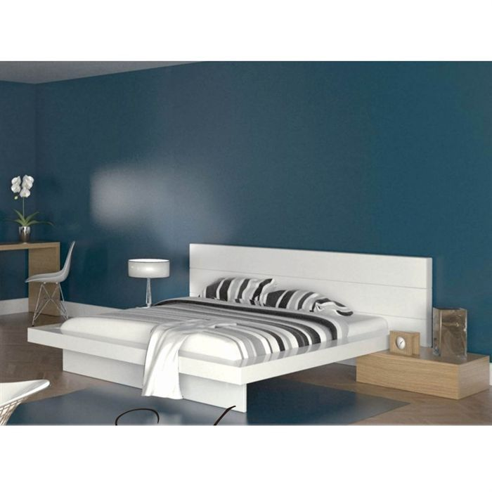 woodao lit 160x200 t ti re pvc 2 chevets achat vente. Black Bedroom Furniture Sets. Home Design Ideas