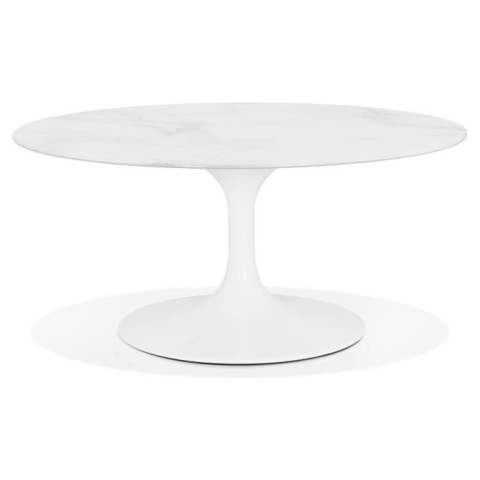 Table basse de salon 'GOST MINI' en verre effet marbre blanche et ronde