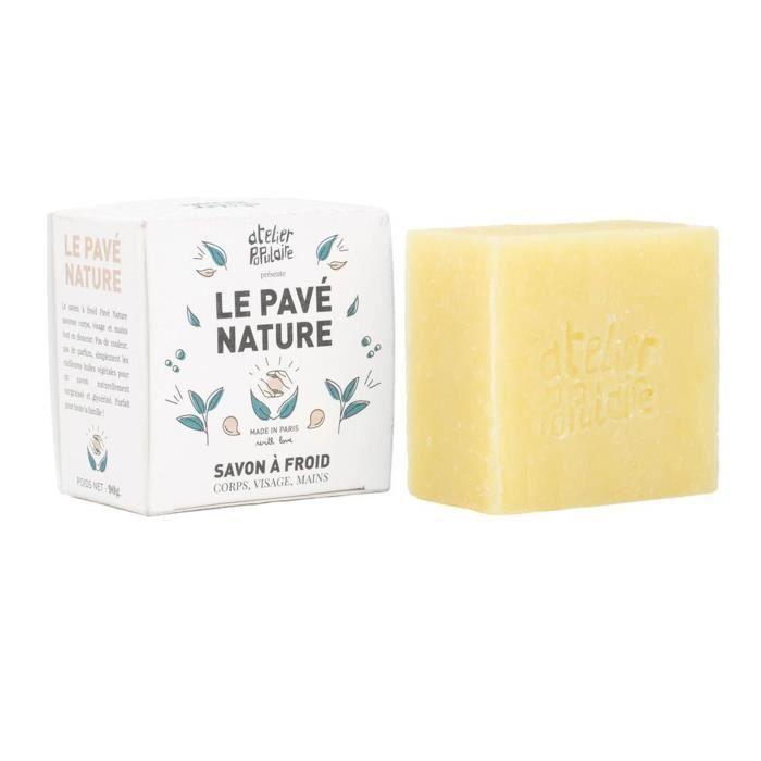 Le Pavé Nature-90gr : Savon saponifié à froid, certifié cosmos Organic, vegan, cruelty free