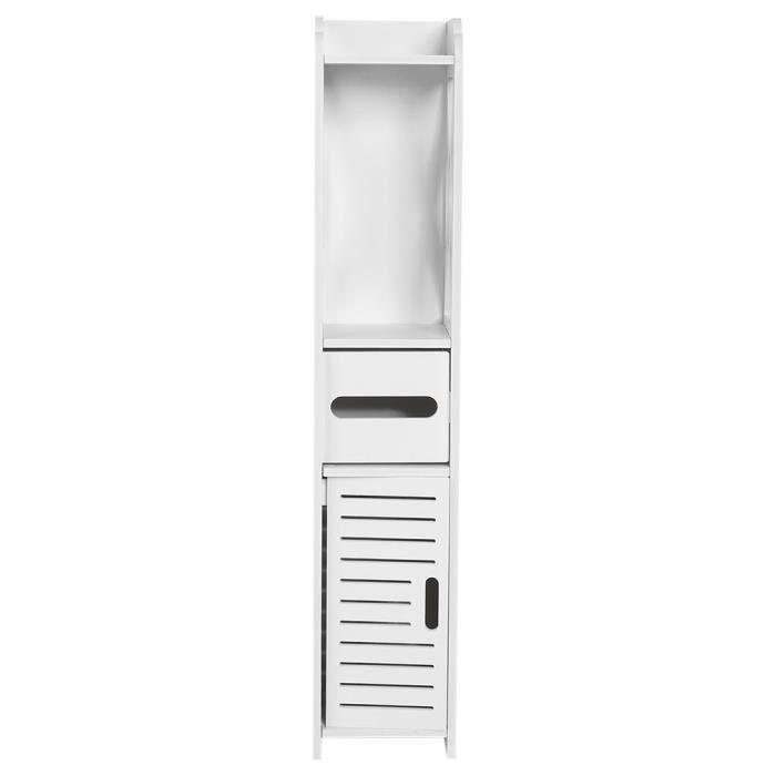 Yolispa® salle de bains meubles de toilette armoire blanc armoire en bois étagère étagère de rangement de tissu 80 * 15.5 * 15.5 CM