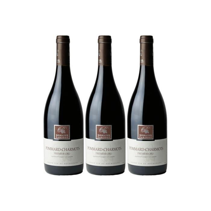 Pommard 1er Cru Les Charmots Rouge 2017 - Lot de 3x75cl - Domaine Parigot Père et Fils - Vin AOC Rouge de Bourgogne - Cépage Pinot