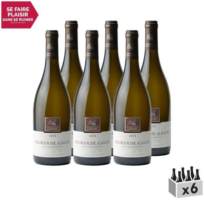 Bourgogne Aligoté Blanc 2018 - Lot de 6x75cl - Domaine Parigot Père et Fils - Vin AOC Blanc de Bourgogne - Cépage Aligoté