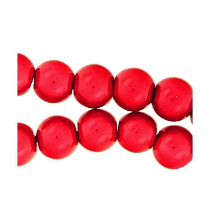 Lot de 105 perles Nacrées 8mm 8 mm - Rouge