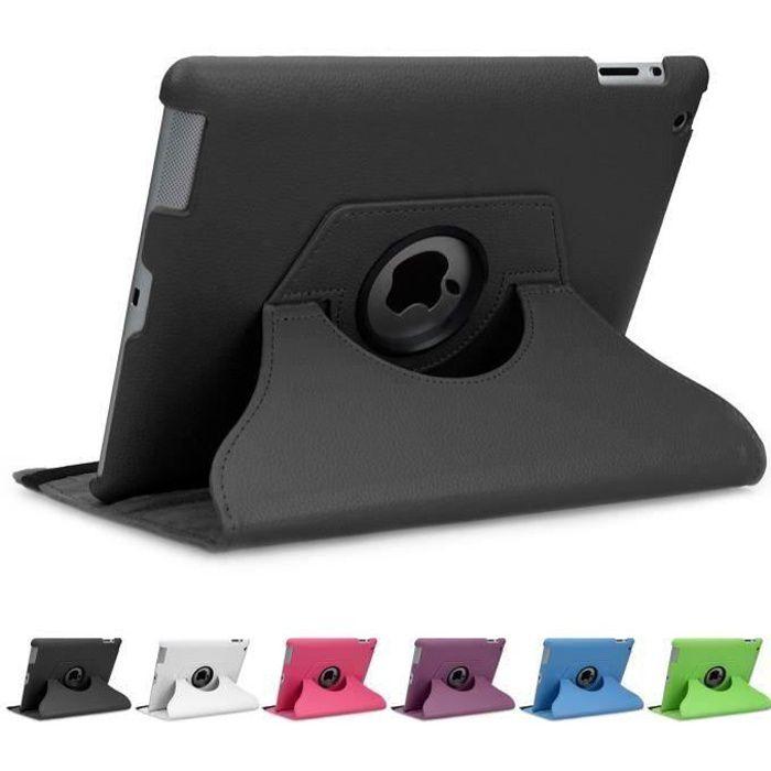 doupi Rotatif Housse Ipad 2 3 4 Deluxe 360 Degrés Smart Coque de Protection Simili Cuir Coque Cover et Case Noir