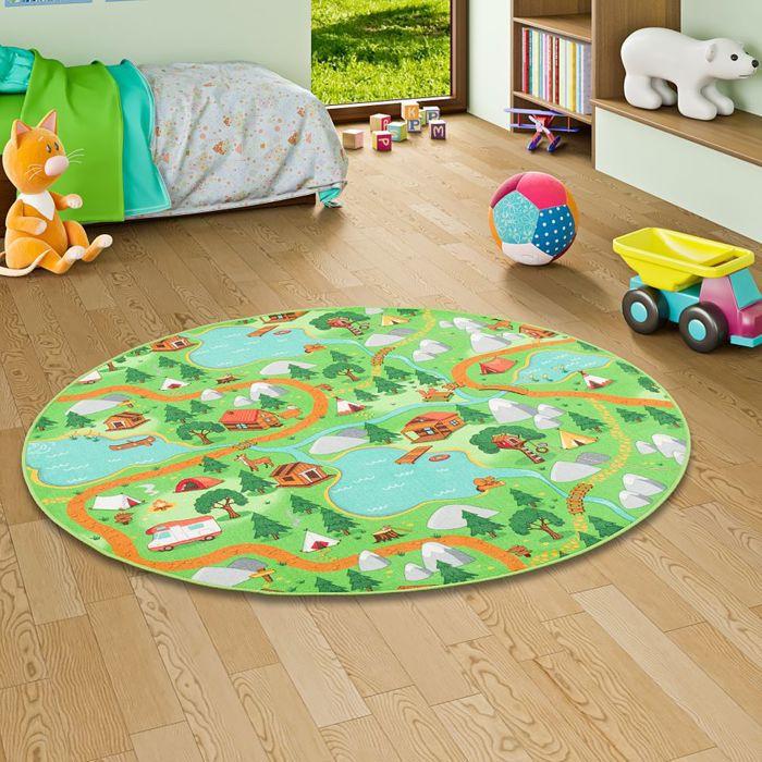Tapis de jeu pour enfant rond - camping vert [100 cm Rond]