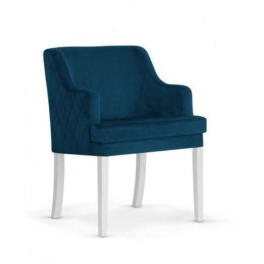Fauteuil-Fauteuil fixe capitonné en tissu avec pieds en bois Grand Bleu Marine / Blanc, l58xA60xH89 cm