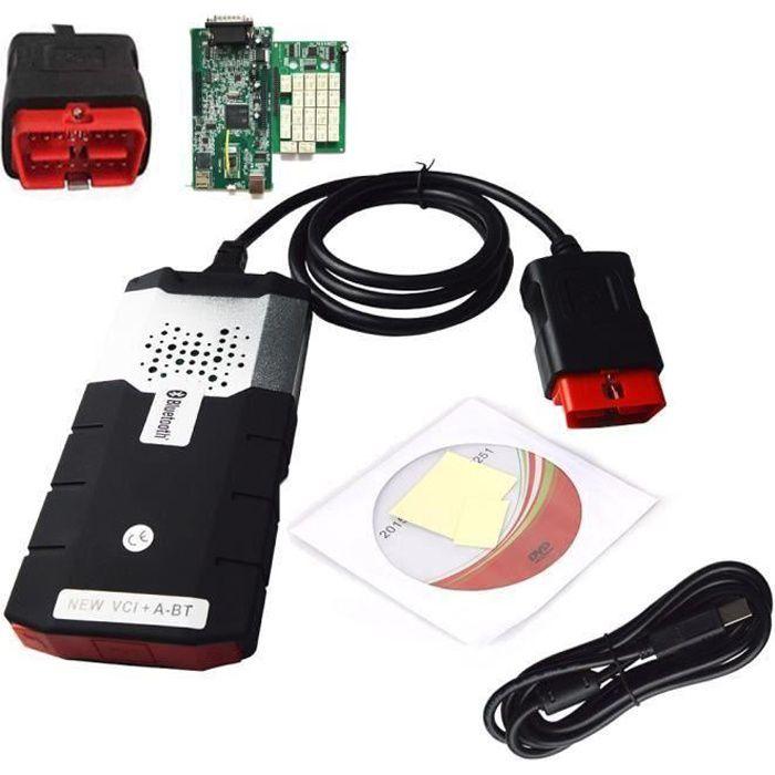 2018 150e CDP PRO 2015R3 avec Bluetooth DS avec l'outil de diagnostic d'activateur OBD2 Noir 24*16*5cm