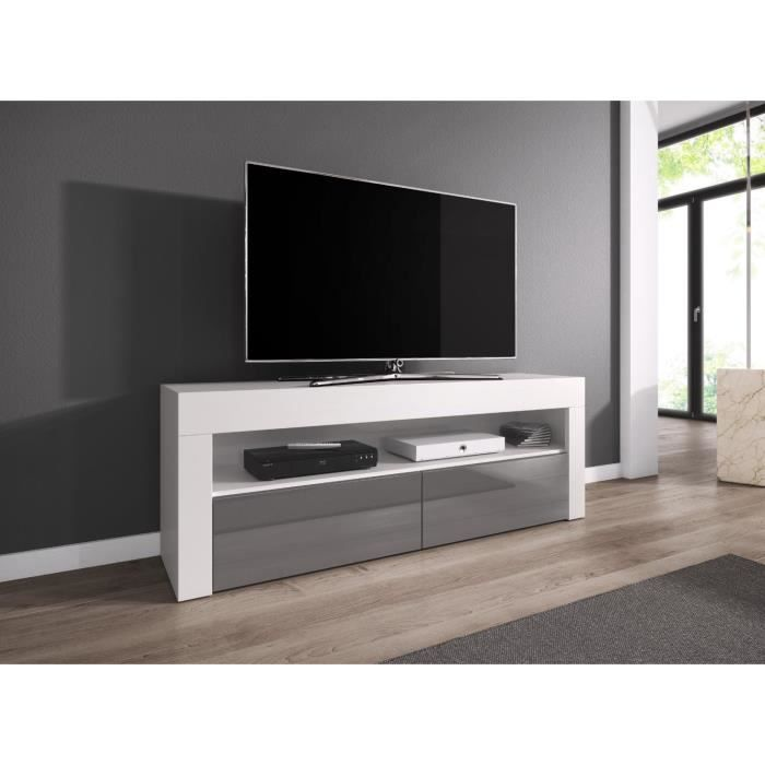 LUNA Meuble TV contemporain décor Corps blanc - Façade grise haute brillance - 140 cm