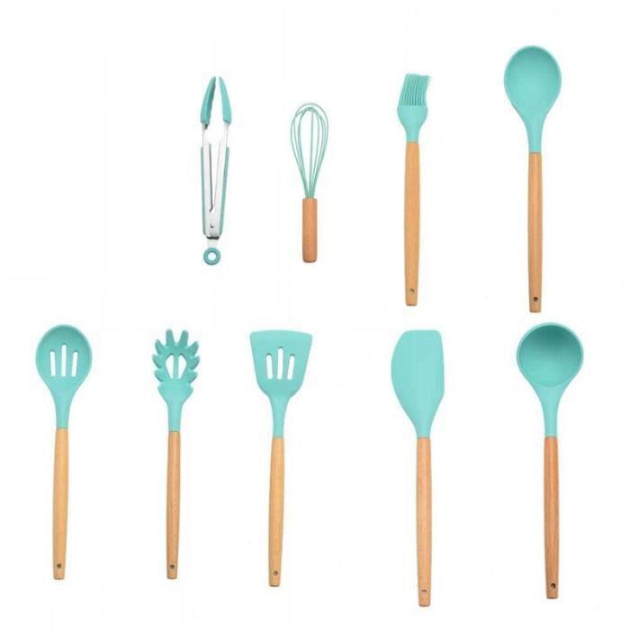 Lot Ustensiles,Ensemble d'ustensiles de cuisine en Silicone avec boîte de rangement, ustensiles de cuisine - Type Tiffany-9pcs