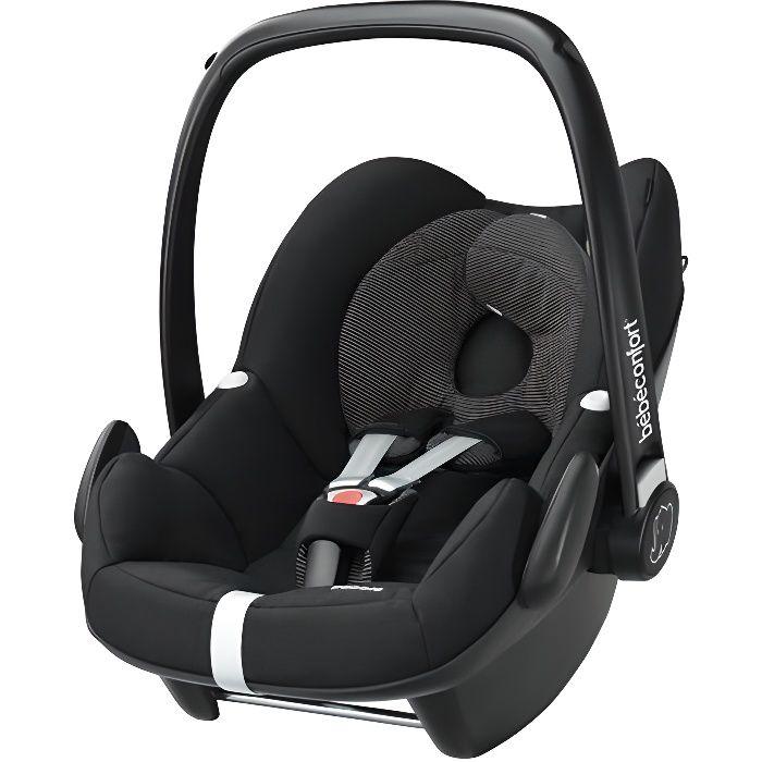 BEBE CONFORT Siège Auto Pebble, Groupe 0+ (de la naissance à 12 mois), compatible base FamilyFix, Black Raven