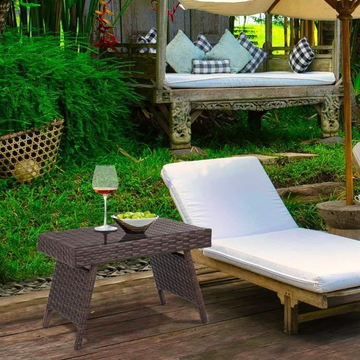 DREAMADE Table Basse Pliable en Rotin,Table d'Appoint en Rotin avec Cadre en Métal,Gain de Place & Style Classique,pour Salon,Jardin