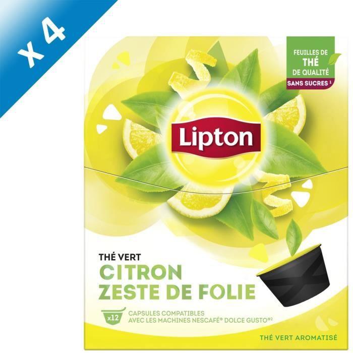 LIPTON Thé Vert Citron Zeste de Folie - Lot de 4 x 12 Capsules