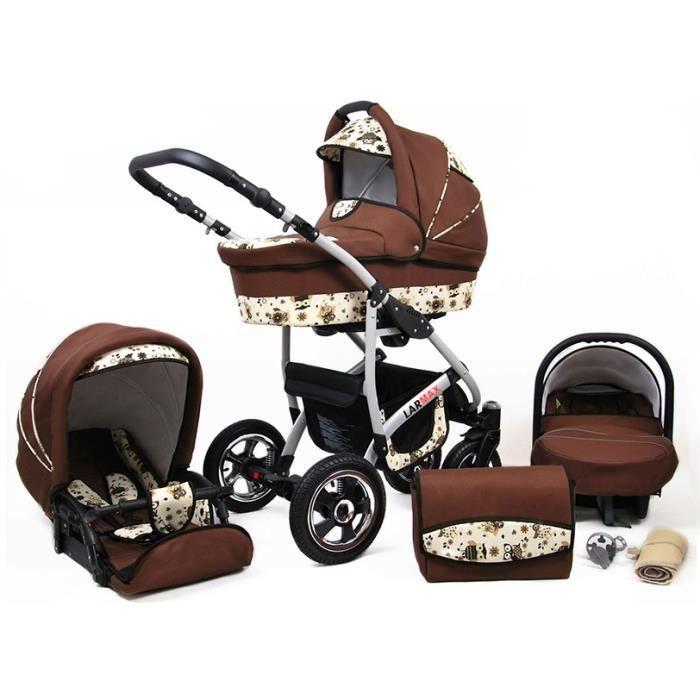 Lux4kids Poussette combinée Landau roues pivotantes Poussette Canne Nacelle Accessoires Larmax marron & hibou 2en1 sans siège bébé