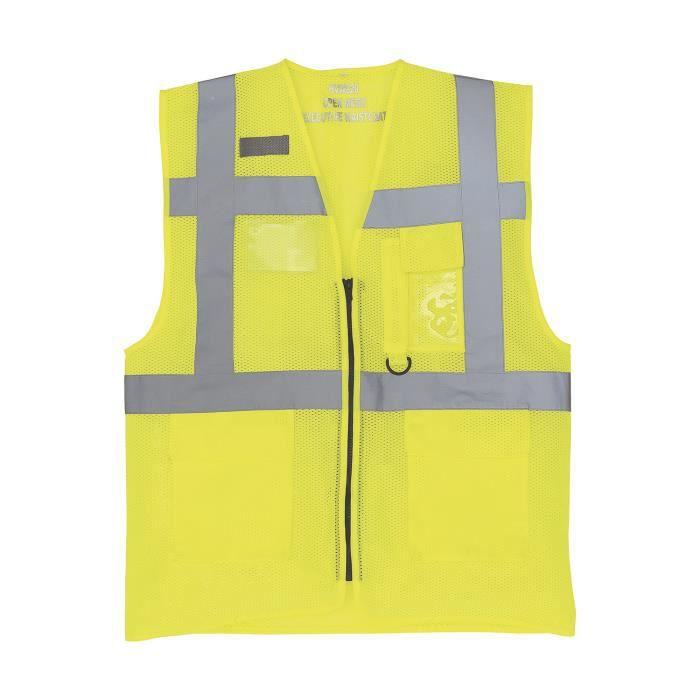Gilet de sécurité zippé maille - jaune fluo - HVW820