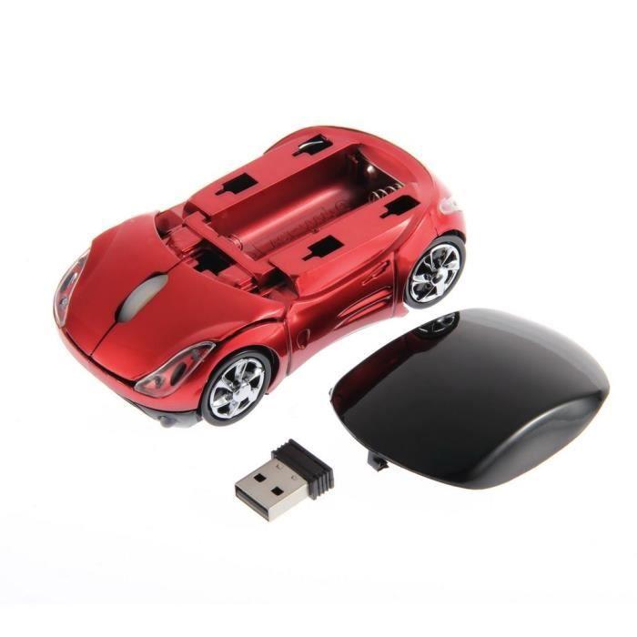 Mini souris de jeu ergonomique optique de voiture sans fil réglable 1000DPI portable pour ordinateur portable + récepteur USB, rouge