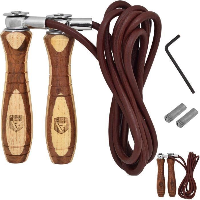 RDX Boxe Réglable Corde à Sauter Cuir Vitesse Perte Poids Câble Skipping Rope Entrainement Fitness