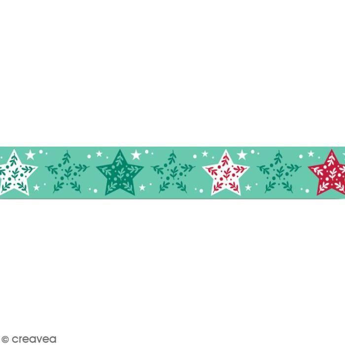 Masking tape Toga - Etoiles vertes et rouges - 1,5 cm x 10 m