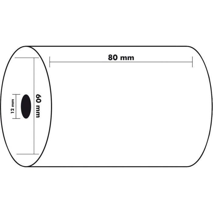 10 Bobines de caisse 80 x 60 X 12 mm Papier thermique pour Caisses Enregistreuse rouleau de papier Thermique ECONOMIQUE pour ticket
