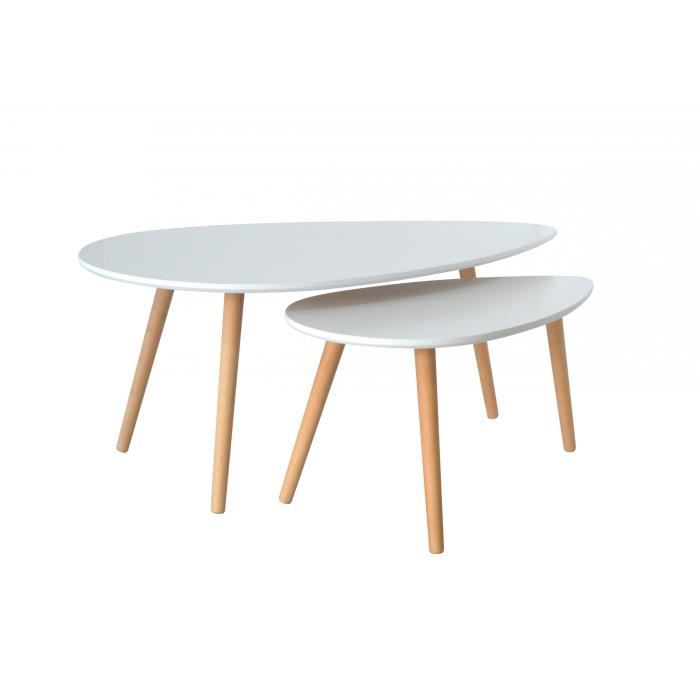 table basse gigogne scandinave blanc karen achat vente table basse table basse gigogne. Black Bedroom Furniture Sets. Home Design Ideas