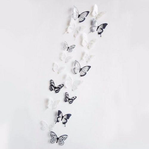 12 x 3d Trend or Papillons Sticker Mural Sticker Déco NEUF
