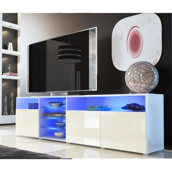 meuble tv blanc cr me tag re vitr e 194cm achat vente meuble tv meuble tv blanc cr me. Black Bedroom Furniture Sets. Home Design Ideas