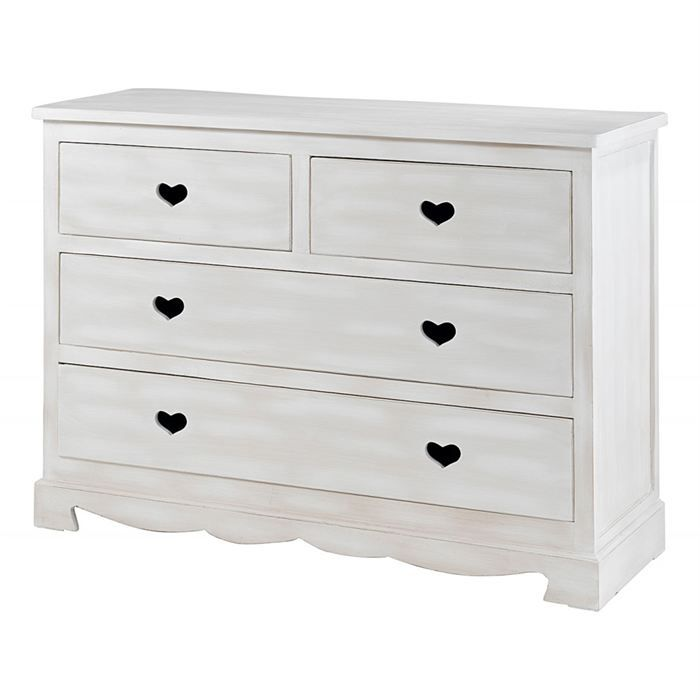 commode blanche 4 tiroirs coeur gamme charme achat vente commode de chambre commode blanche. Black Bedroom Furniture Sets. Home Design Ideas