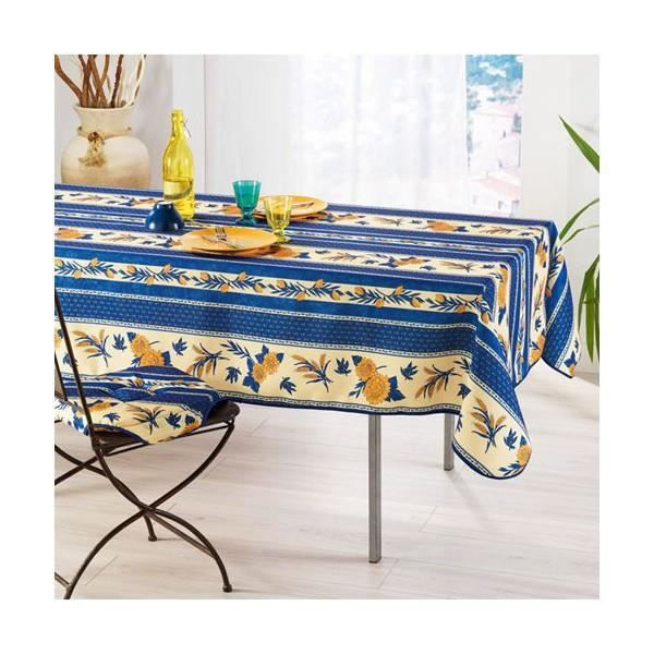 nappe abeille bleu 1m50x1m20 anti tache et sans repassage achat vente nappe de table cdiscount. Black Bedroom Furniture Sets. Home Design Ideas