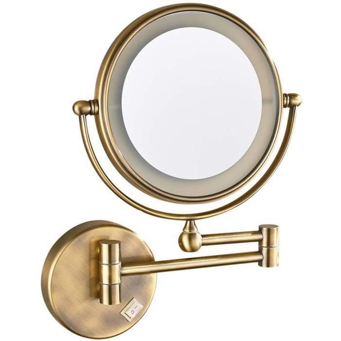 Auxmir Miroir Grossissant Mural Miroir Cosm/étique Mural T/élescope 360/°Pivotant Miroir x5 Extensible