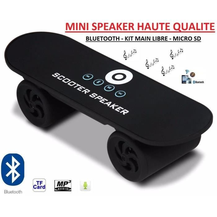 enceinte speaker bluetooth mp3 usb portable skate noir enceintes bluetooth avis et prix pas. Black Bedroom Furniture Sets. Home Design Ideas