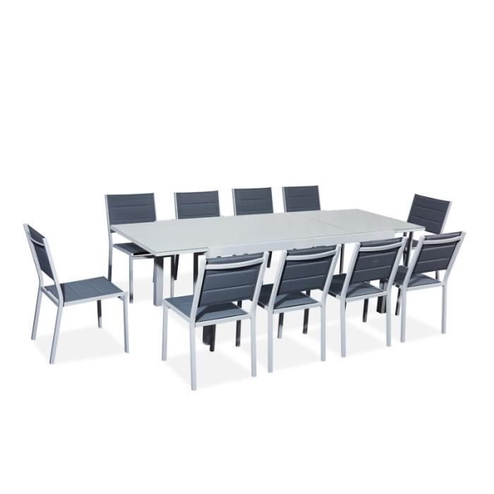 Table de jardin extensible aluminium/verre 180/240cm + 10 chases empilables  textilène gris - VERONE