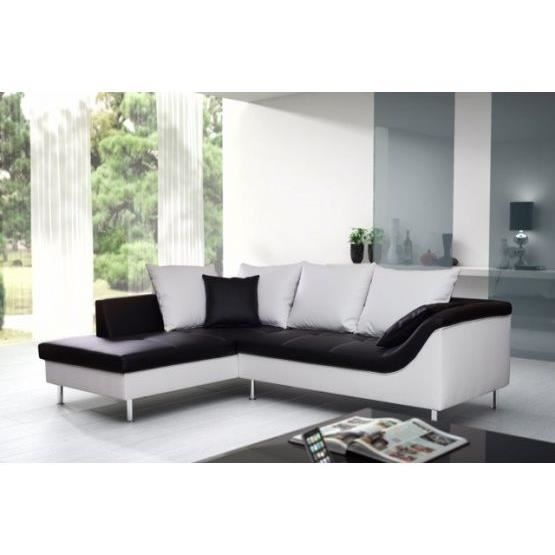 canap d 39 angle elvis mini noir et blanc gauche achat vente canap sofa divan pu. Black Bedroom Furniture Sets. Home Design Ideas