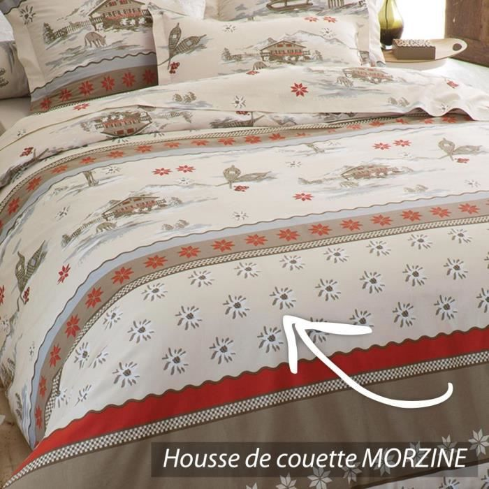 housse de couette 260x240 cm 100 coton morzine achat. Black Bedroom Furniture Sets. Home Design Ideas
