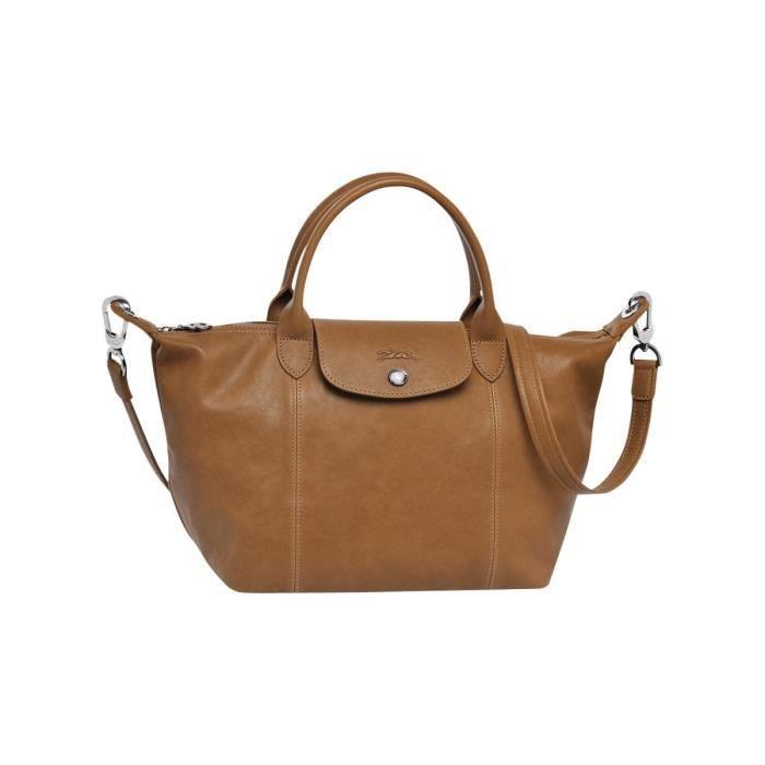 LONGCHAMP - sac femme porté main et bandoulière en cuir - NATUREL ...