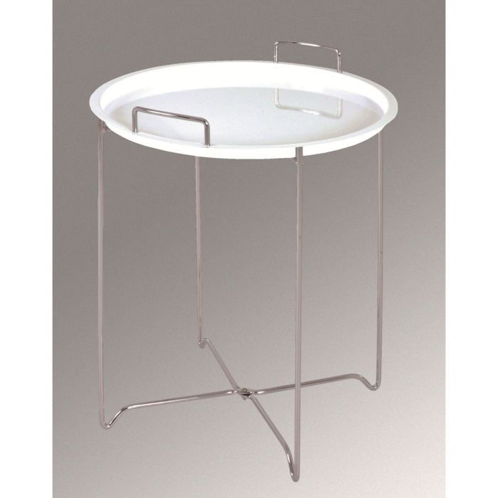 Table d 39 appoint jir chrom blanc achat vente table d for Table d appoint transparente