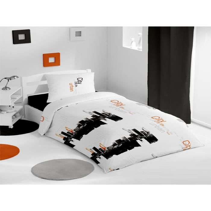 parure housse de couette 160x210 cm city orange achat. Black Bedroom Furniture Sets. Home Design Ideas