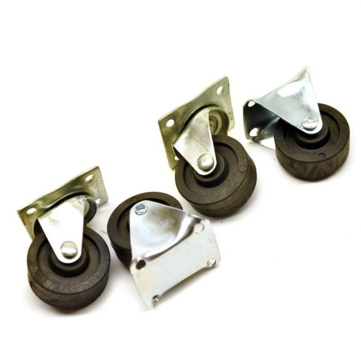 40mm roues castor 4pc Trolley 2 x et 2 x fixe bureau pivotant TE372 rouleaux
