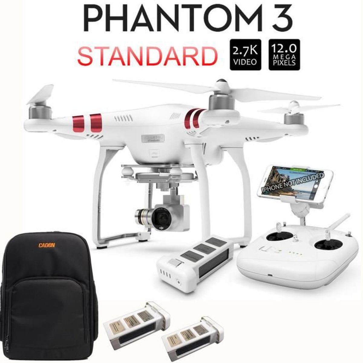 dji phantom 3 standard quadricopt re drone avec camera 2 batterie suppl mentaire sac pour. Black Bedroom Furniture Sets. Home Design Ideas