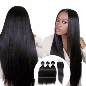 PERRUQUE - POSTICHE 3 tissage Brésilien Straight Hair With Closure, 10