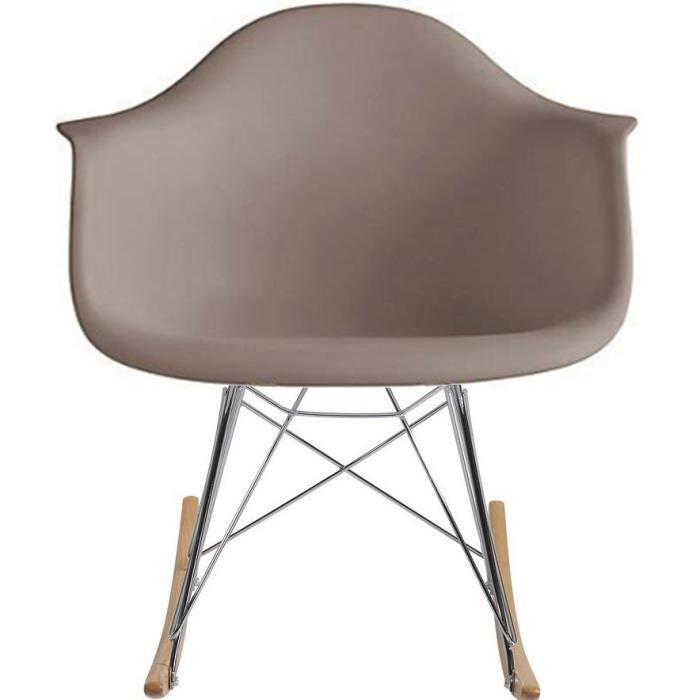 Grey Mid Century Modern Molded Shell Designer Plastic Rocking Chair Chairs Armchair Arm Chair Patio 1YELF4
