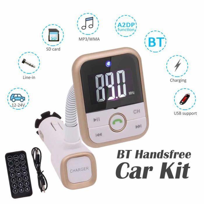 Lecteur MP3 Bluetooth Transmetteur FM mains libres Kit Chargeur de voiture sans fil pour iPhone - iPad - Samsung - Htc connecter