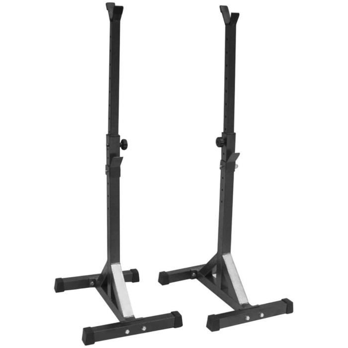 Supports Réglable de Rack Squat Multifonction pour Haltères Noir, hauteur réglable 75-163cm