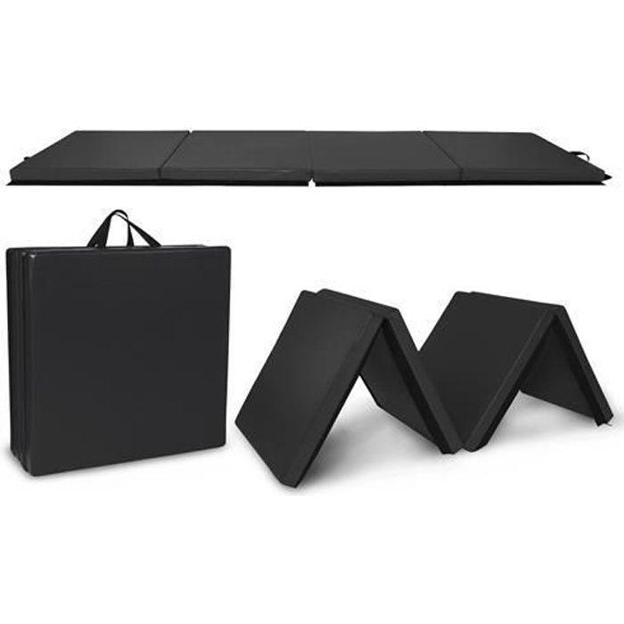 Tapis de Gymnastique Pliable- 240x60x5cm-Gym pour Fitness, Yoga-noir